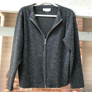 Cathy Daniels Black Marled Full-Zip Sweater